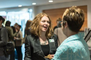 WAVE Member Dawn Newton chats with City of Edmonton's Kate Gunn at International Women's Day celebrations.